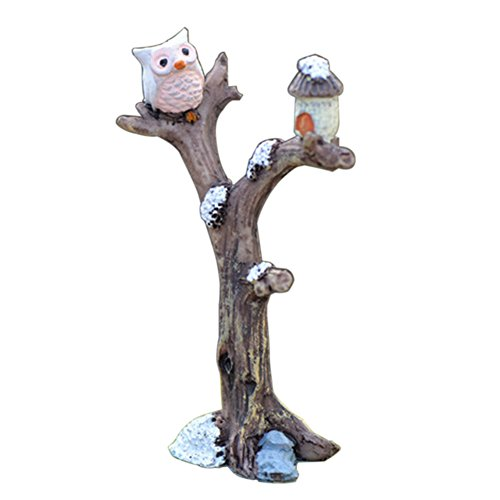 Sanwood Mini-Baum Eule Garten Haus Ornament Puppenhaus Pflanztopf Figur DIY Outdoor Deko Home Halloween Dekoration