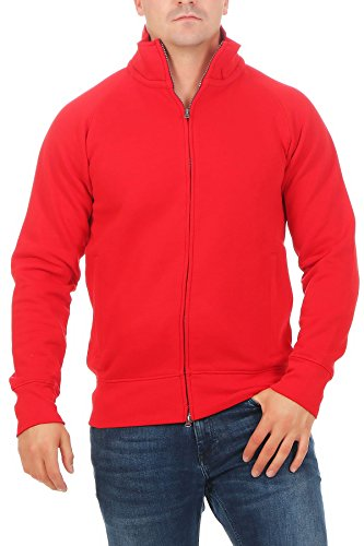 Herren Sweatjacke Ohne Kapuze Zip-Jacke Reißverschluss mit Kragen, Farbe:Rot, Größe:3XL (Pullover Jacke Roten Warme)
