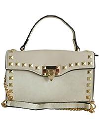 64dd8b0aecaa6 Top modische Damenhandtasche Abendtasche beige mit Nieten gold kleine Tasche