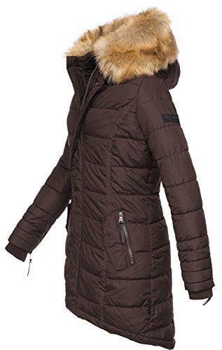 Navahoo Papaya Damen Winter Jacke Steppjacke Mantel Parka gesteppt warm  B374 Schoko