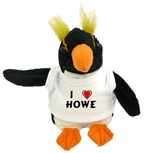 Personalisierter Pinguin Plüsch Spielzeug mit T-shirt mit Aufschrift Ich liebe Howe (Vorname/Zuname/Spitzname)