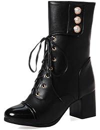 SHOWHOW Damen Retro Plateau Stiefelette Schnürsenkel Stiefel Mit Absatz Schwarz 45 EU