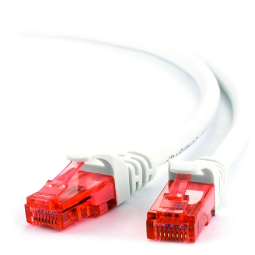 Cat5e Patch-kabel Ethernet-kabel (20m - CAT.6 Ethernet Gigabit Lan Netzwerkkabel (RJ45) - weiß)