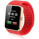 X-REEGA GT08 Bluetooth Smartwatch mit Kamera SIM-Karten-Slot und NFC-Smart-Health Watch für Android Smartphone und iPhone (Goldene rote Band)
