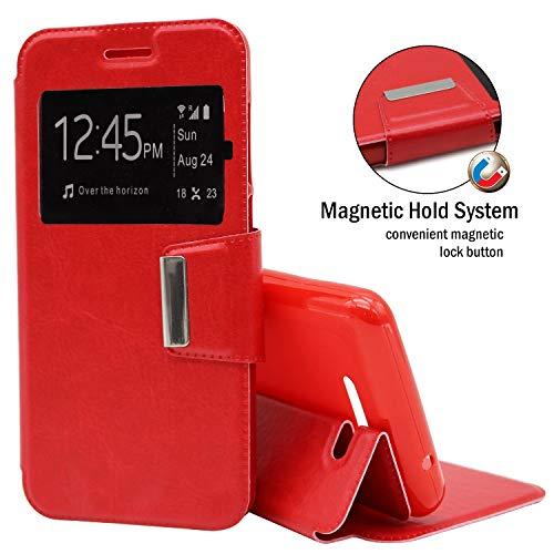 EUYBOX - Sony Xperia C4 Hülle Handyhülle Taschen Buch-Magnet-Sportansicht - Rot