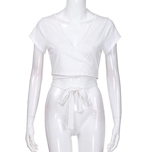 YCQUE Frauen Damen Sommer Heißer Mode Feste Einfache Retro Lässige V-Ausschnitt Sexy Tops Geknotete Krawatte Front Crop Tops Kurzarm Slim fit Splice Bluse -