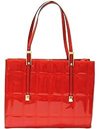 KionStyle Square Textured Women Red handbag