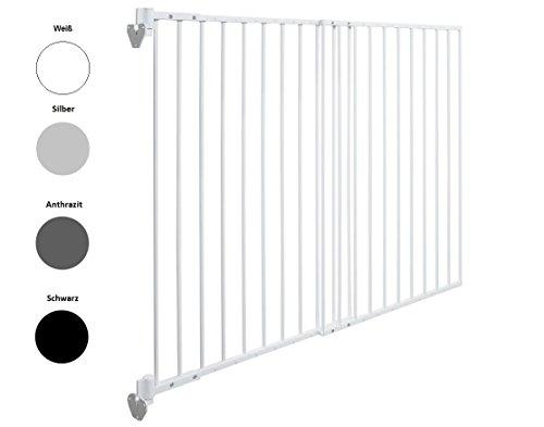Exklusiv bei IMPAG® EasyShut | Türschutzgitter | Treppenschutzgitter | Befestigung an nur einer Seite | Links- oder Rechtsanschlag | verstellbar 65-115cm | Extrahoch 90 cm | 2 Farben | Baby | Kind