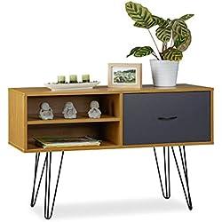Relaxdays Credenza Design rétro, Cassetto, Tavolino d'Appoggio, Mobile Vintage, MDF, Multicolore, 62 x 100 x 38 cm