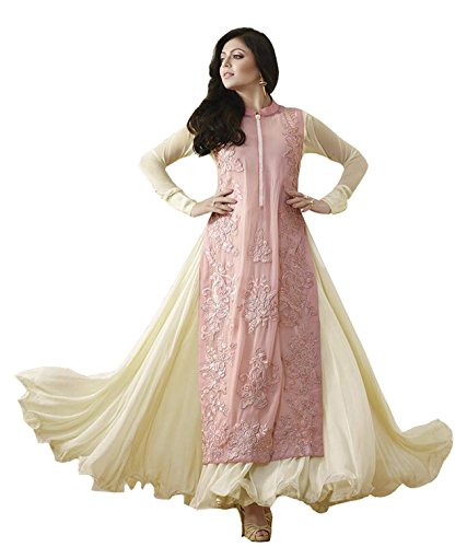 Clickedia Women's & Girl's Heavy Georgette Cream & Pink Embroidered Anarkali Suit With Dupatta  available at amazon for Rs.899