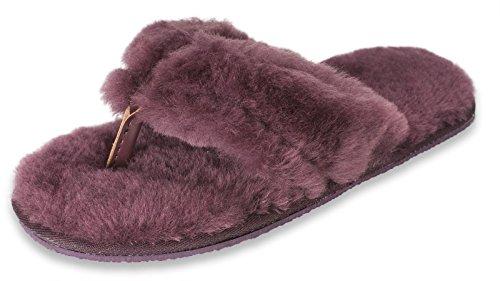 Nordvek - Pantoufles pour femme - peau de mouton - style flip flop - # 411-100 Violet