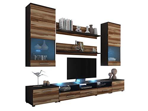 Wohnwand Cama II, Anbauwand, 2X TV Lowboard, Vitrine, Wandregal, Mediawand, Modernes Wohnzimmer Set (Wenge/Nuss Baltimore, ohne Beleuchtung)