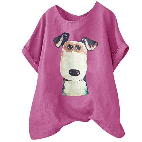 Vimoli T-Shirts à Manches Courtes Femmes Eté Décontractée Chien Imprimé Tee Shirt Lâche Casual Col O Haut Tops en Coton et Lin (Rose Vif,XL)