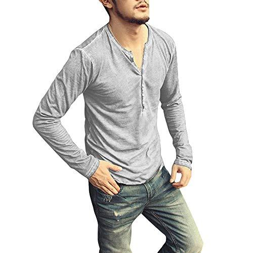 MERICAL Mantel Herren Herbst Casual Vintage Langarm T-Shirt mit V-Ausschnitt Top Bluse(XXX-Large,Grau-A)
