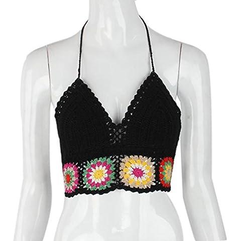 Malloom® Mujer ganchillo Bralette Tejer Sujetador de encaje bra Playa Halter Crop Top Cami Tank (negro)
