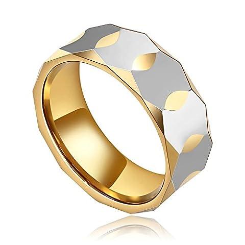 KnSam Bague Homme Acier Inoxydable Anneau Homme Femme Design Rhombique Cut Bague Mariage Promesse Argent Or Taille 61.5
