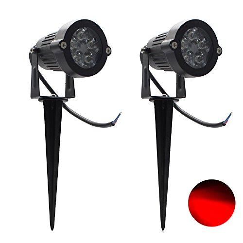 2er, 5W LED Gartenstrahler Rasen Licht IP65 Außenbereich wasserdichten Scheinwerfer 85-265V (Rot) - 5 Warm White Led-chips