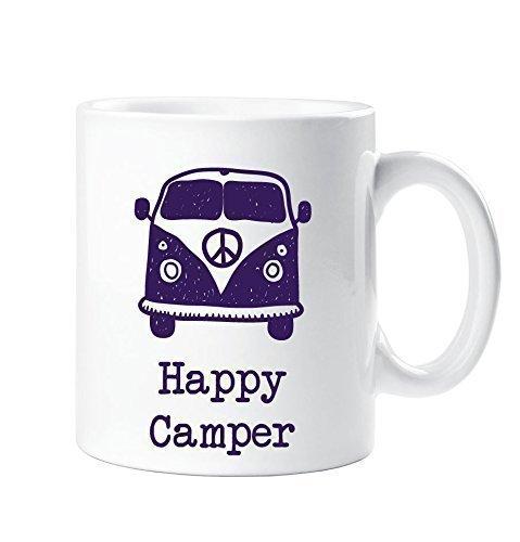 Happy Camper Becher Lila Wohnmobil Camping Geschenk Tasse Keramik - Happy Becher Camper