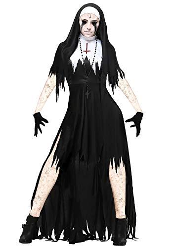thematys Gruselige Horror Nonne Kostüm-Set für Damen - perfekt für Halloween, Fasching & Karneval - 4 Verschiedene Größen (M)
