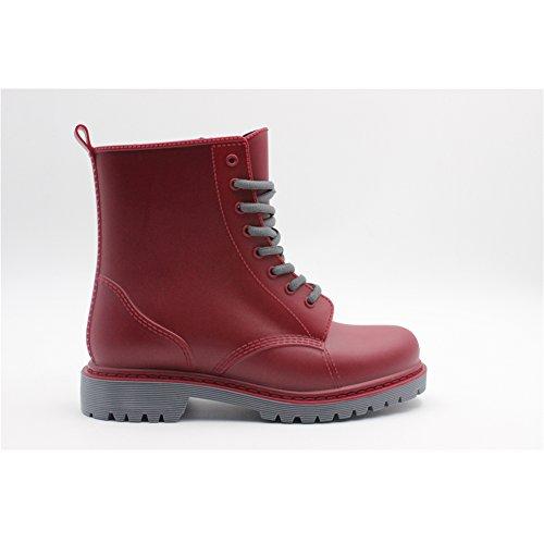 SGoodshoes Femmes Martin Bottes à lacets étanches Chaussures Wellington Flats Du vin