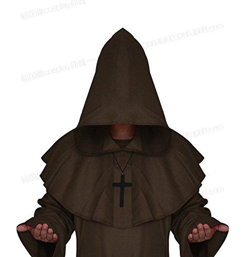 WLM Halloween Cosplay Kostüm mittelalterlichen Mönch Kleidung, Mönch Gewand Hexe Kostüm, Priester dienen Christian Anzug,Kaffee,XL (Halloween Für Christian-kostüme)