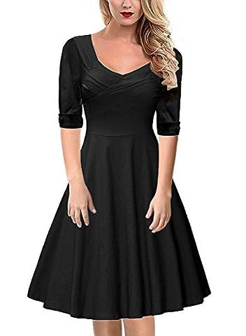 Gigileer Elegant 50s Rockabilly Damen Kleider Cocktailkleid Winter Knielanges Kurzarm festlich hochzeit schwarz L