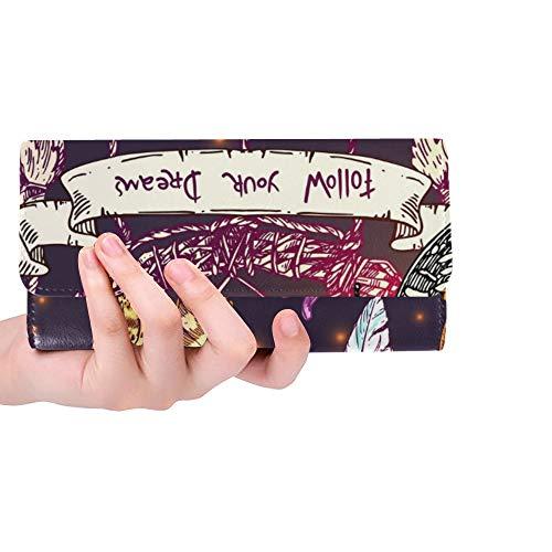 Único Personalizado Hermoso Dibujado A Mano Dibujando Mujeres Trifold Monedero Monedero Largo Titular de la Tarjeta de Crédito Caso Bolso