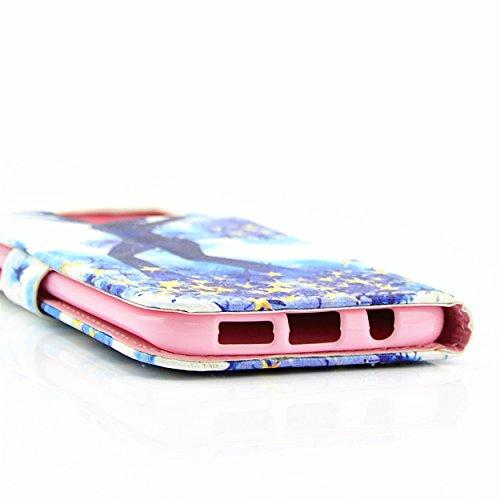iPhone 6 / 6S Étui Housse, Meet de protection en cuir / Pouch / Case / Holster / Wallet / Case / Portefeuille pour Apple iPhone 6 / 6S étui coque Case Cover smart flip cuir Case à rabat Coque de prote Fille étoiles