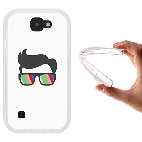 WoowCase LG K3 2017 Hülle, Handyhülle Silikon für [ LG K3 2017 ] Sonnenbrille und Nerd Stil Handytasche Handy Cover Case Schutzhülle Flexible TPU - Transparent