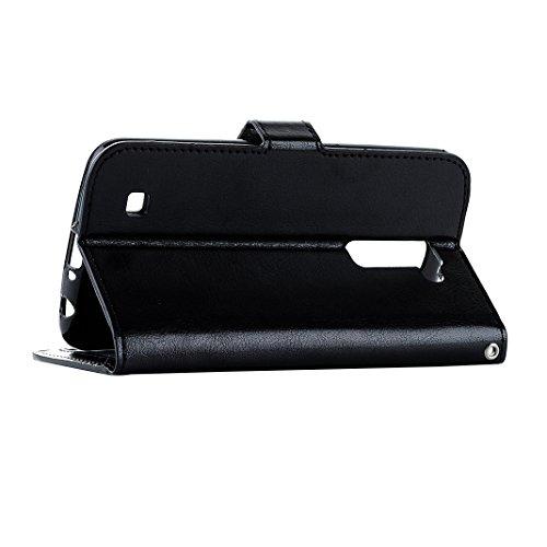 LG K10 Cover Case Pelle HuaForCity® Portafogli Custodia in Pelle PU Copertina con Slot per schede Magnetica Flip Chiusura Stile del Libro Supporto Funzione Bumper Caso for iphone LG K10 Black