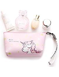 Nicedeal - Bolsa de maquillaje de unicornio rosa para cosméticos de viaje, organizador de cosméticos