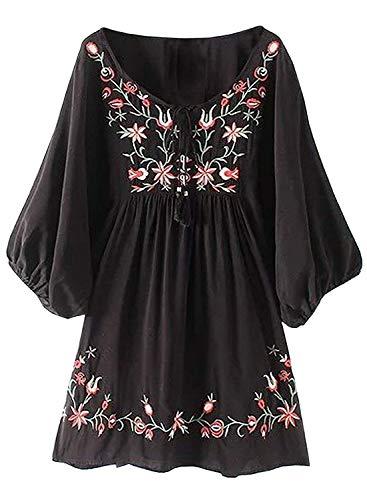 FUTURINO Damen Sommerkleid Bohemian Stickerei Floral Tunika Shirt Bluse Flowy Minikleid (XL, 03 Schwarz)