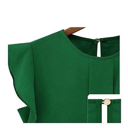 Amlaiworld Femmes en vrac Tulip courte en mousseline de soie manches chemisier Tops Vert