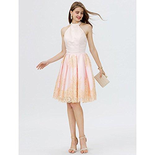 kekafu Princess Off-the-shoulder kurz / Mini Lace Satin Cocktail Kleid mit Pearl Details Falten von TS, Pfirsich, US8/UK 12 / EU 38 (Plissee Pfirsich)