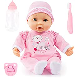 Bayer Design 93842AF Magic Teeth Baby, Funktionspuppe, Weichkörperpuppe, bekommt den ersten Zahn, mit roten Wangen, inkl. Zubehör, rosa, 38cm
