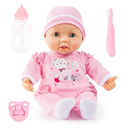 Bayer Design 93842AF Magic Teeth Baby, función muñeca, weichkörp muñeca, bekommt los Primeros Dientes, con Extremos Rojas, Incluye Accesorios, Color Rosa, 38cm