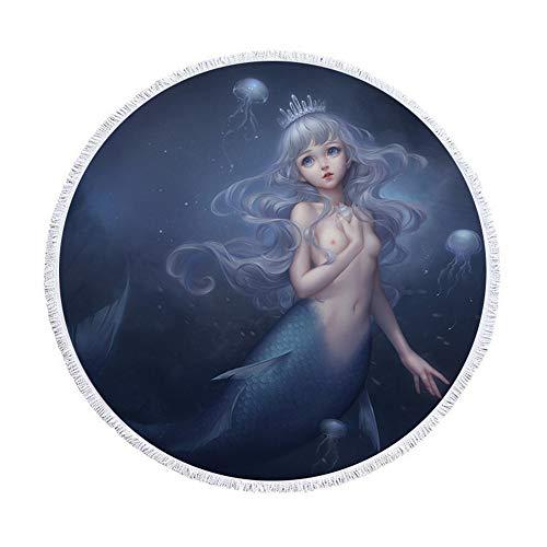 SUYUN Mehrzweck dekorative Tapisserie Handtuch Runde Strandtuch Mikrofaser Digitaldruck Meerjungfrau B 150 * 150cm -