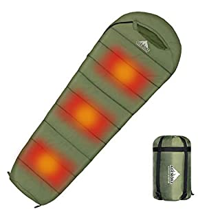 Agemore Mummy Sleeping Bag with Graphite heating plate, Compression Sack for 3-4 Season Lightweight, Water Resistant & Warm for Camping, Hiking, Traveling and Outdoors(Power bank NOT included)