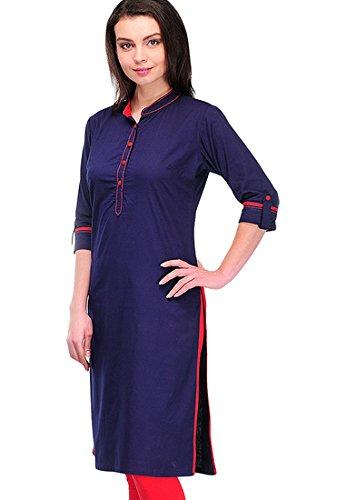 Kurti (Sai Fab Women\'s Cotton Printed Blue Kurti) (Free & S Size)