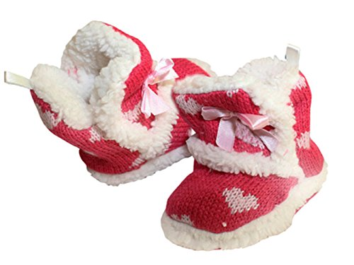 Baby Home Slipper mit Teddyfutter und Norwegermuster sowie textile Antirutschsohle Rot