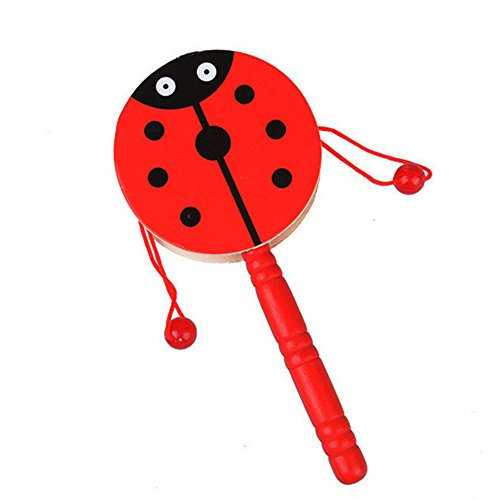 Bluester Musical Toys,Wooden Rattle Pellet Drum Cartoon Musical Instrument Toy for Child Kids Baby Gift ( Color Random )