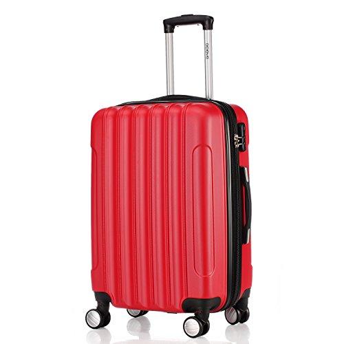 Zwillingsrollen 2050 Hartschale Trolley Koffer Reisekoffer in M-L-XL-Set in 12 Farben (M, Rot)