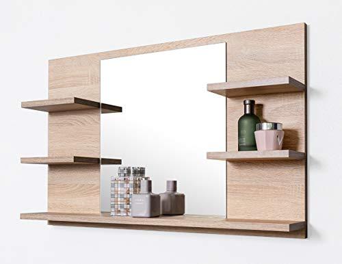 DOMTECH Badspiegel mit Ablagen, Eiche Sonoma Badezimmer Spiegel, Wandspiegel, Badezimmerspiegel