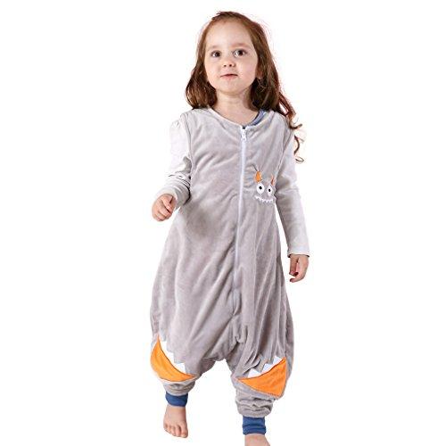MICHLEY Baby Schläfer Flanell Tragbar Decke, Leicht Baby Mädchen ärmel Schlafanzug Mit Füße 2.5-5T (Grau) (Schlafen Flanell Pyjama-hose)