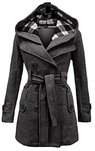 EVERY Damen stylischer Herbst Winter Fleece Mantel Jacke mit Kapuze Grau