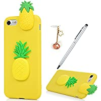 iPhone 7 Case,iPhone 8 Case, Badalink 3D Cute Soft Silicone Toy TPU Cover Case Flexible Rubber Bumper Case Grip Shell Funny Case For iPhone 7/iPhone 8 with 1 Touch Pen & 1 Dust Plug,Pineapple
