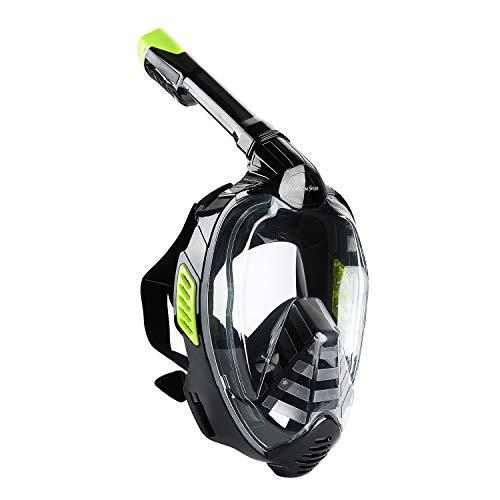 Khroom CO2 sichere Schnorchelmaske Vollmaske 2019 - bekannt aus YouTube - Seaview X -Tauchermaske für Erwachsene und Kinder. (Schwarz, S/M)