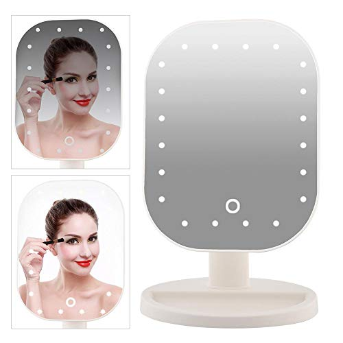 Cocoarm Schminkspiegel Beleuchtet mit 20 LED-Leuchten für um 180 ° drehbaren Vergrößerungstisch, 10-facher Vergrößerungsspiegel für Zuhause und unterwegs, Weiß -