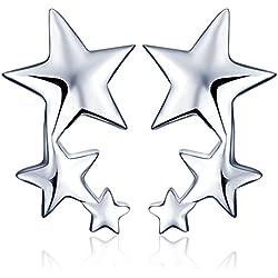 Yumilok - Pendientes Pequeños de Plata de ley 925 Estrellas para Mujer, Niña