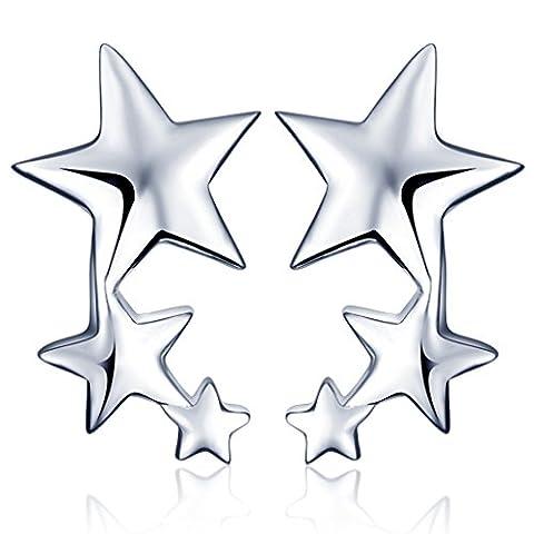 Yumilok Jewelry 925 Sterling Silver Cubic Zirconia Womens Stars Studs Ear Cuffs Hypoallergenic Wrap